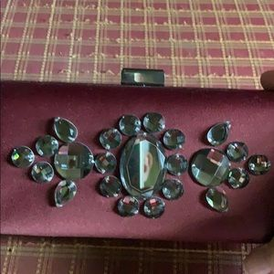 Kate Landry burgundy sateen clutch purse- new
